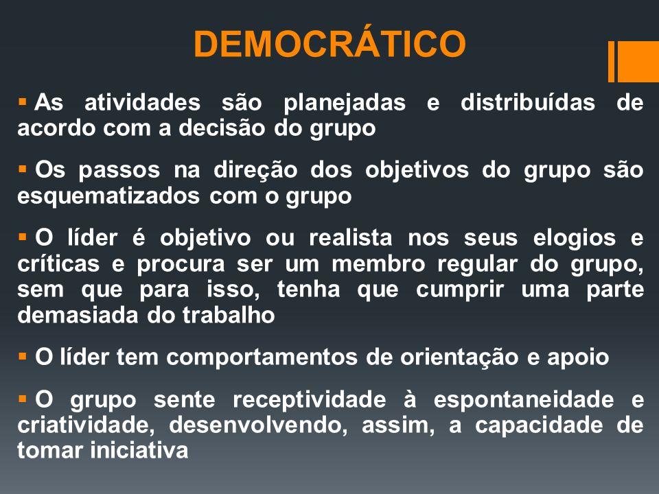 DEMOCRÁTICO As atividades são planejadas e distribuídas de acordo com a decisão do grupo.