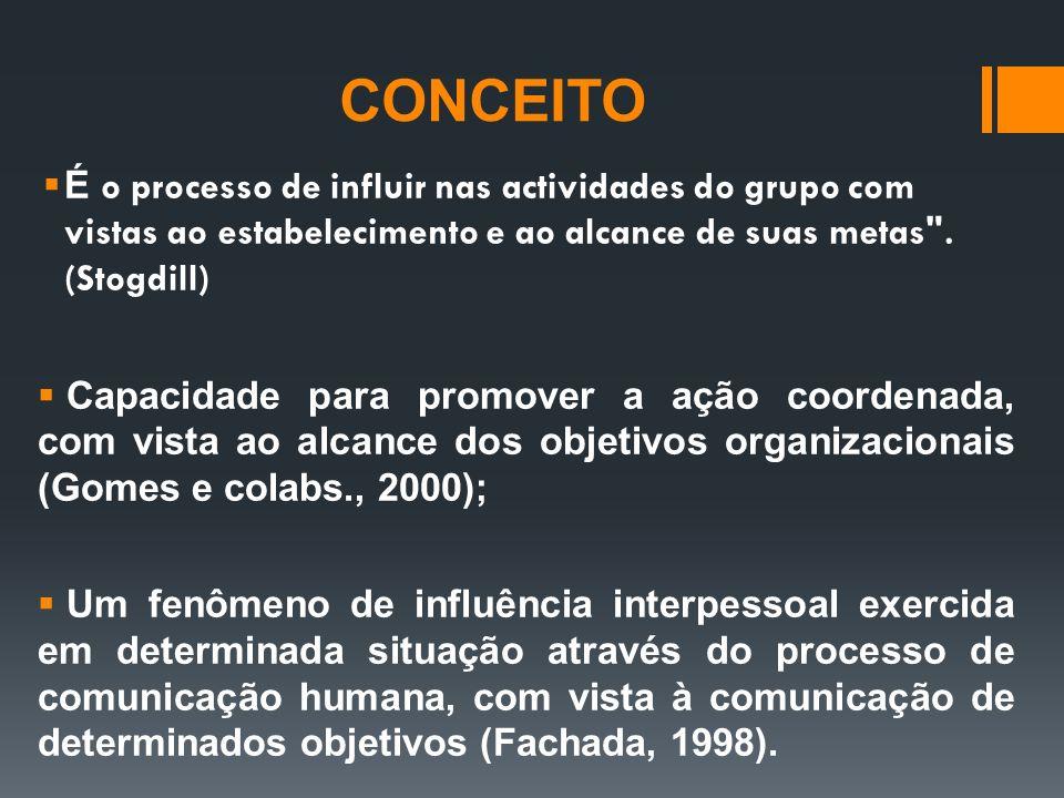 CONCEITO É o processo de influir nas actividades do grupo com vistas ao estabelecimento e ao alcance de suas metas . (Stogdill)
