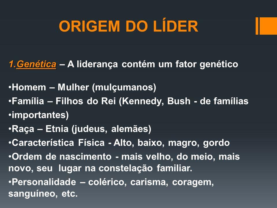 ORIGEM DO LÍDER Genética – A liderança contém um fator genético