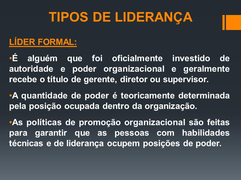 TIPOS DE LIDERANÇA LÍDER FORMAL: