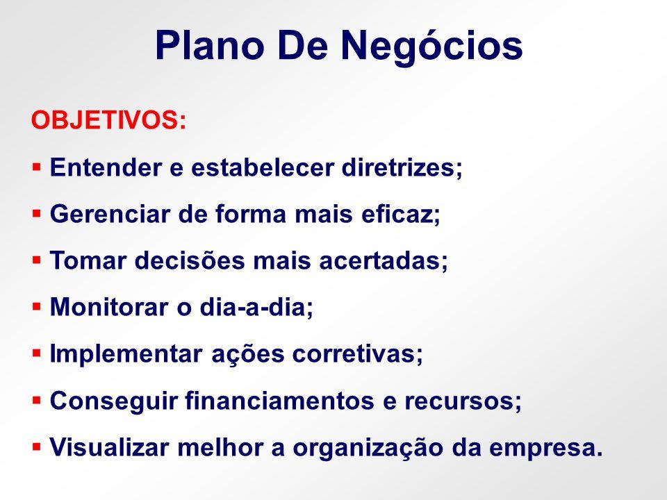 Plano De Negócios OBJETIVOS: Entender e estabelecer diretrizes;