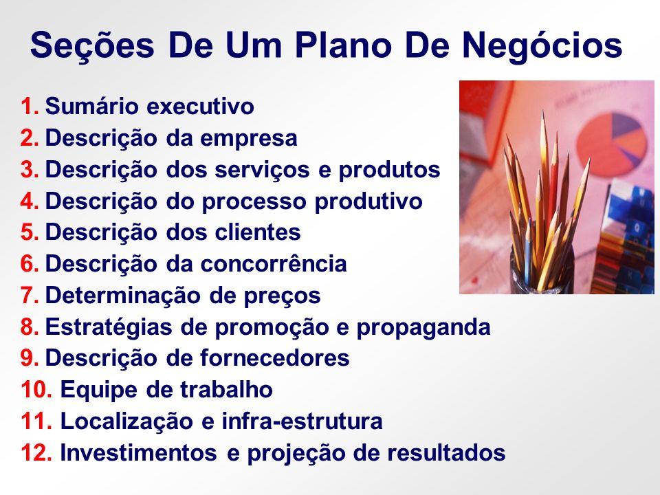 Seções De Um Plano De Negócios