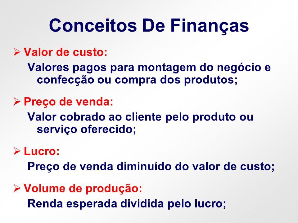 Conceitos De Finanças Valor de custo: