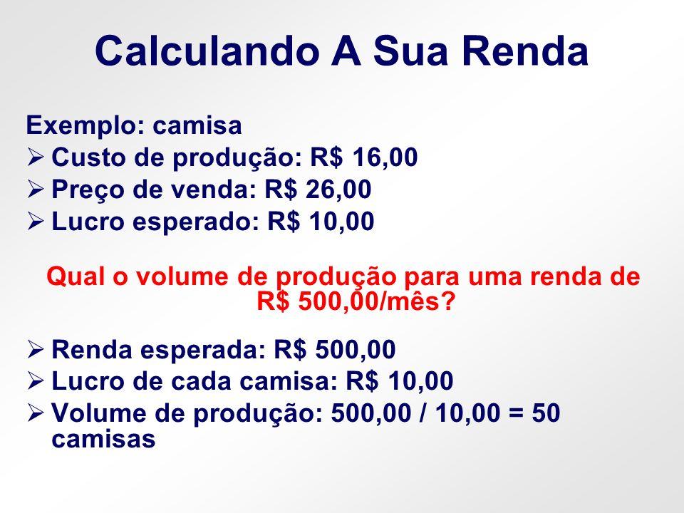 Qual o volume de produção para uma renda de R$ 500,00/mês