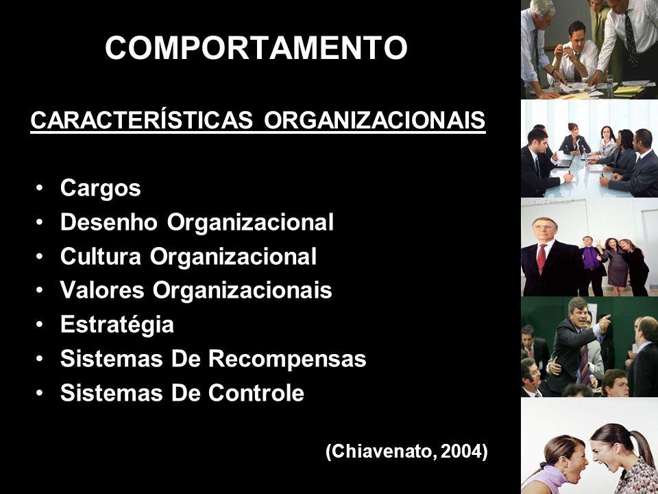 COMPORTAMENTO CARACTERÍSTICAS ORGANIZACIONAIS Cargos