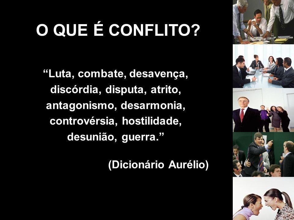 O QUE É CONFLITO Luta, combate, desavença, discórdia, disputa, atrito, antagonismo, desarmonia, controvérsia, hostilidade, desunião, guerra.