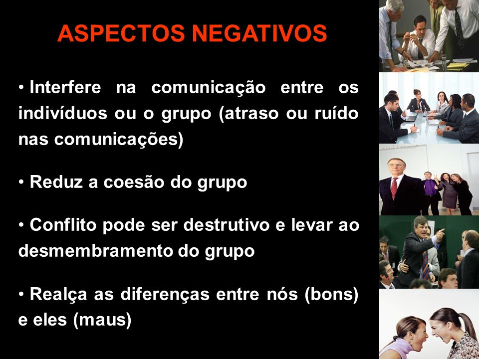 ASPECTOS NEGATIVOS Interfere na comunicação entre os indivíduos ou o grupo (atraso ou ruído nas comunicações)