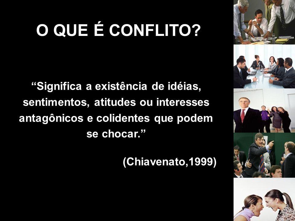 O QUE É CONFLITO Significa a existência de idéias, sentimentos, atitudes ou interesses antagônicos e colidentes que podem se chocar.
