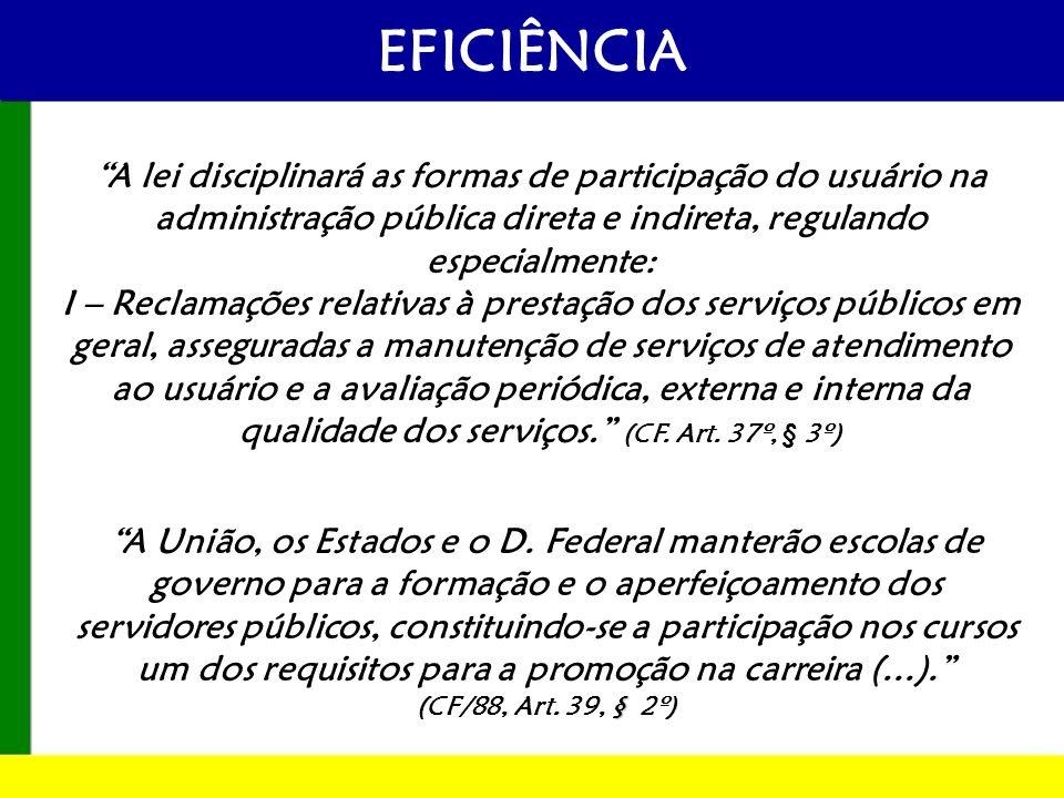 EFICIÊNCIA A lei disciplinará as formas de participação do usuário na administração pública direta e indireta, regulando especialmente: