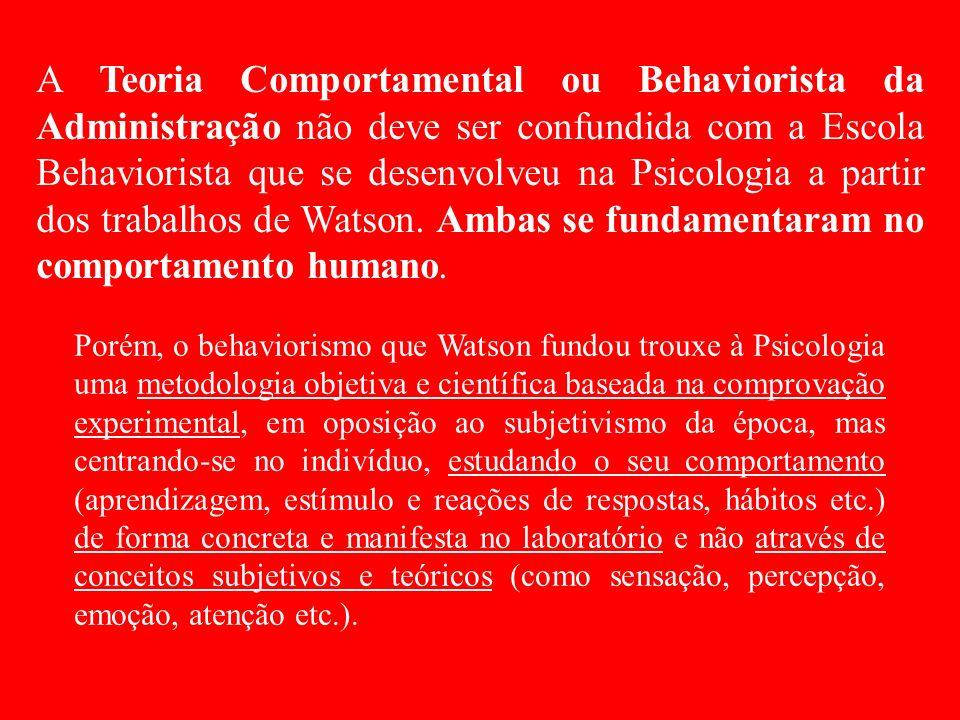 A Teoria Comportamental ou Behaviorista da Administração não deve ser confundida com a Escola Behaviorista que se desenvolveu na Psicologia a partir dos trabalhos de Watson. Ambas se fundamentaram no comportamento humano.