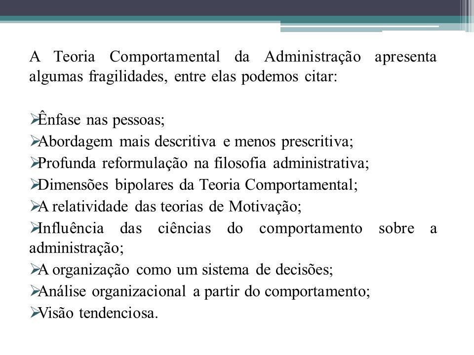 A Teoria Comportamental da Administração apresenta algumas fragilidades, entre elas podemos citar: