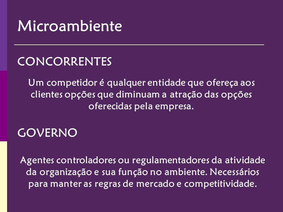 Microambiente CONCORRENTES GOVERNO