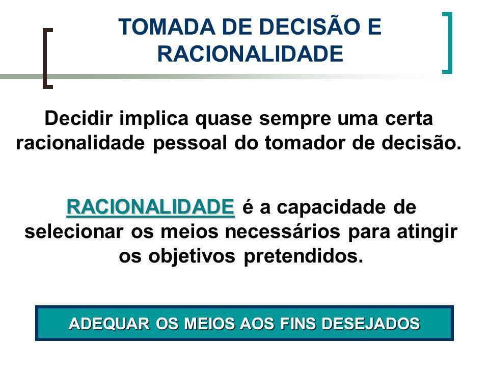 TOMADA DE DECISÃO E RACIONALIDADE ADEQUAR OS MEIOS AOS FINS DESEJADOS