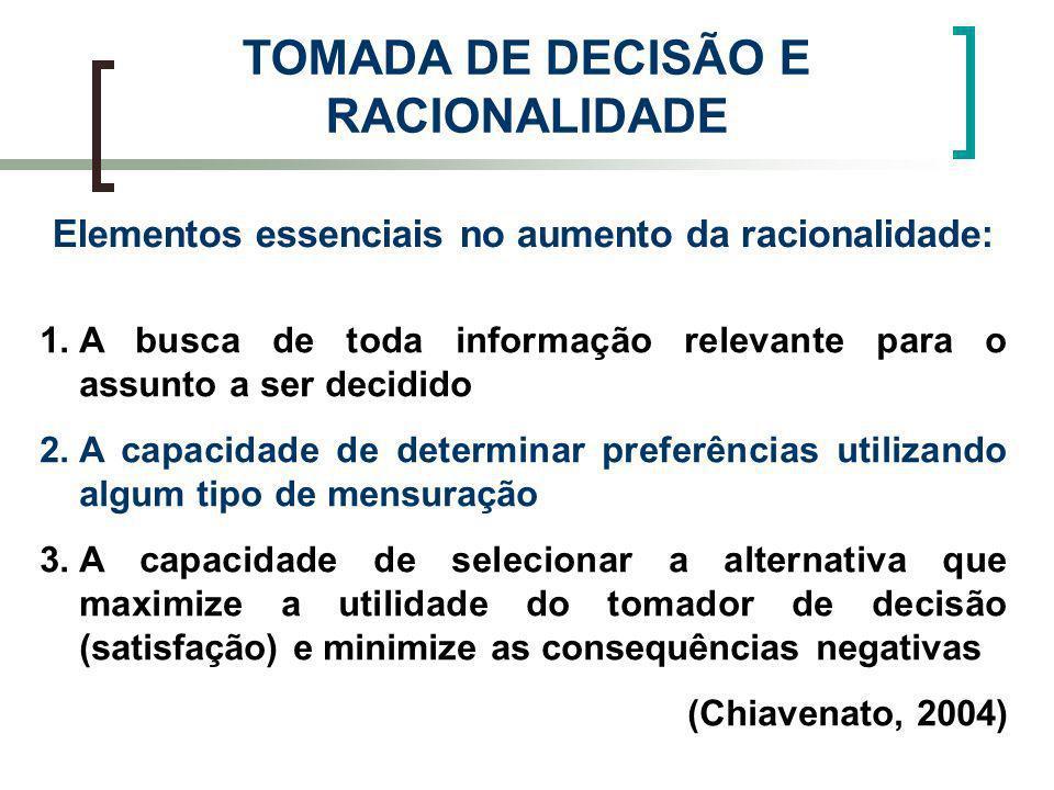 TOMADA DE DECISÃO E RACIONALIDADE
