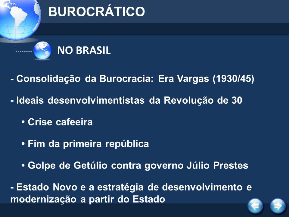 BUROCRÁTICO NO BRASIL. - Consolidação da Burocracia: Era Vargas (1930/45) - Ideais desenvolvimentistas da Revolução de 30.