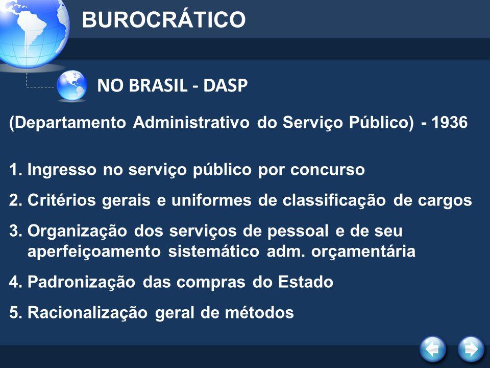 BUROCRÁTICO NO BRASIL - DASP