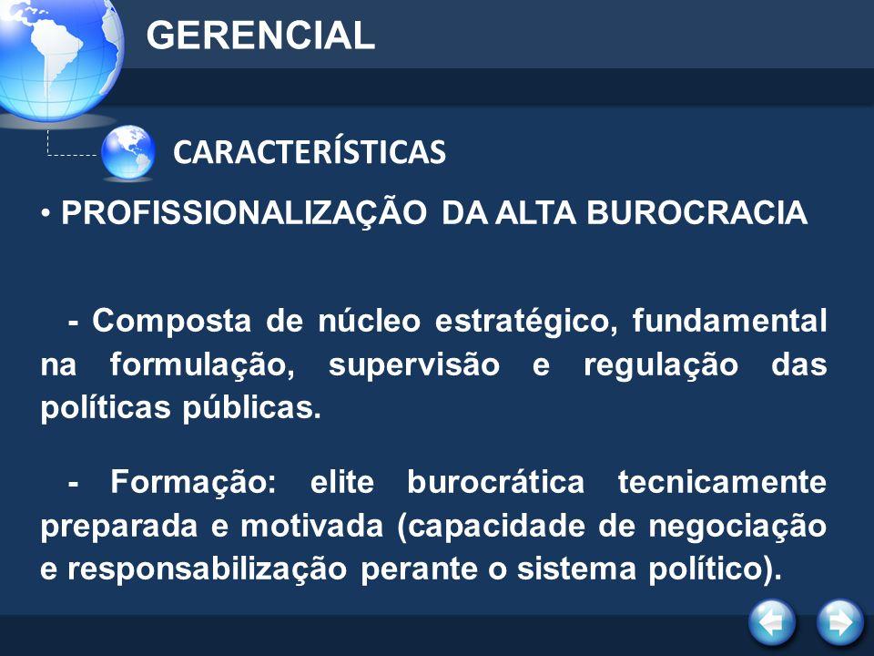 GERENCIAL CARACTERÍSTICAS PROFISSIONALIZAÇÃO DA ALTA BUROCRACIA