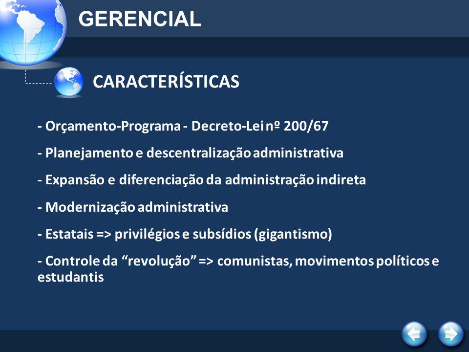 GERENCIAL CARACTERÍSTICAS - Orçamento-Programa - Decreto-Lei nº 200/67