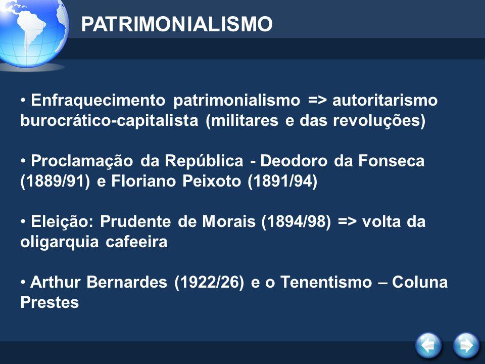 PATRIMONIALISMO Enfraquecimento patrimonialismo => autoritarismo burocrático-capitalista (militares e das revoluções)