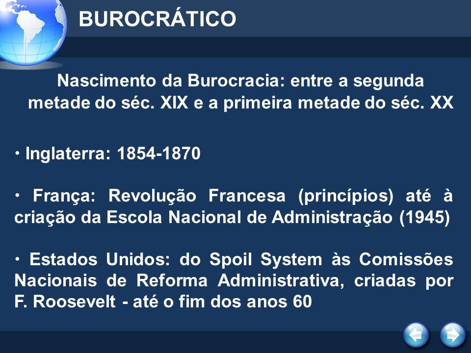 BUROCRÁTICO Nascimento da Burocracia: entre a segunda metade do séc. XIX e a primeira metade do séc. XX.