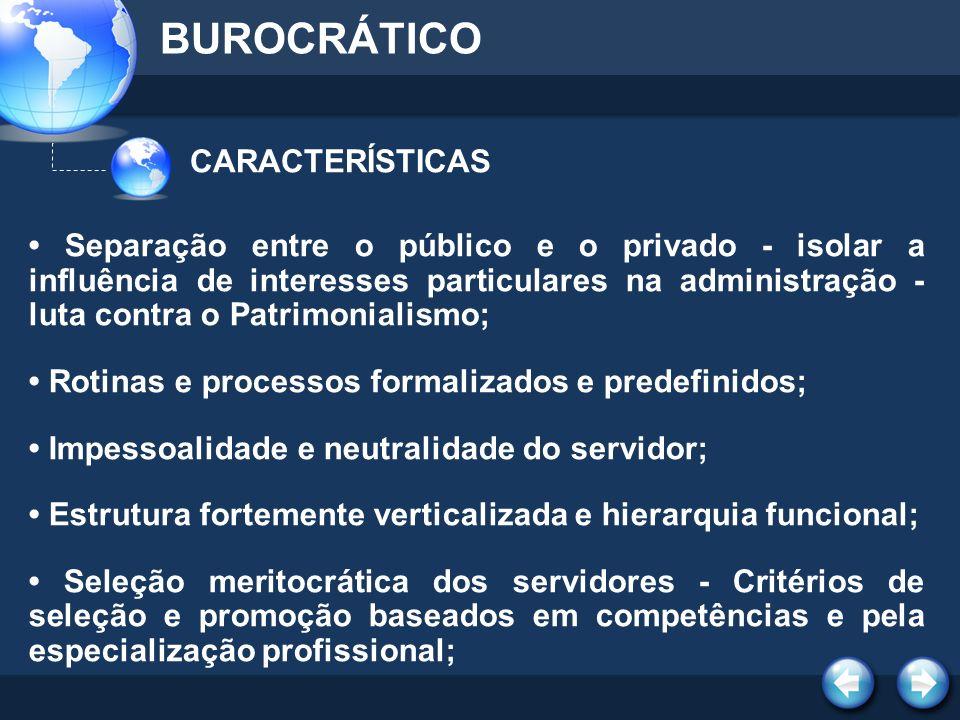 BUROCRÁTICO CARACTERÍSTICAS
