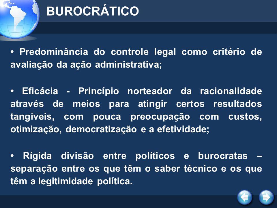 BUROCRÁTICO • Predominância do controle legal como critério de avaliação da ação administrativa;
