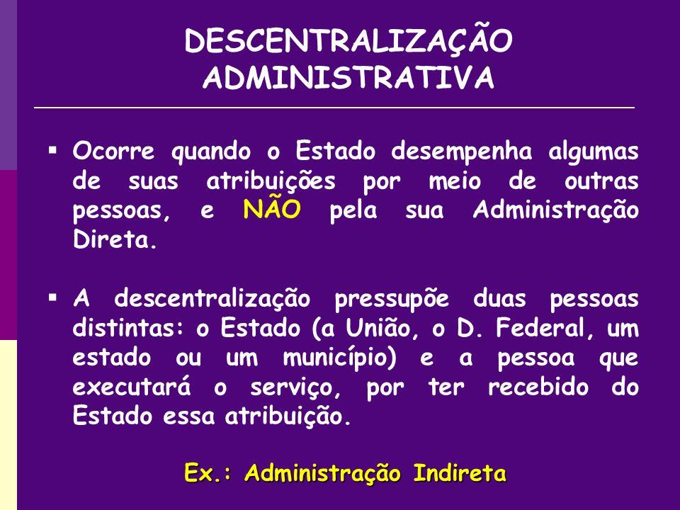 DESCENTRALIZAÇÃO ADMINISTRATIVA Ex.: Administração Indireta