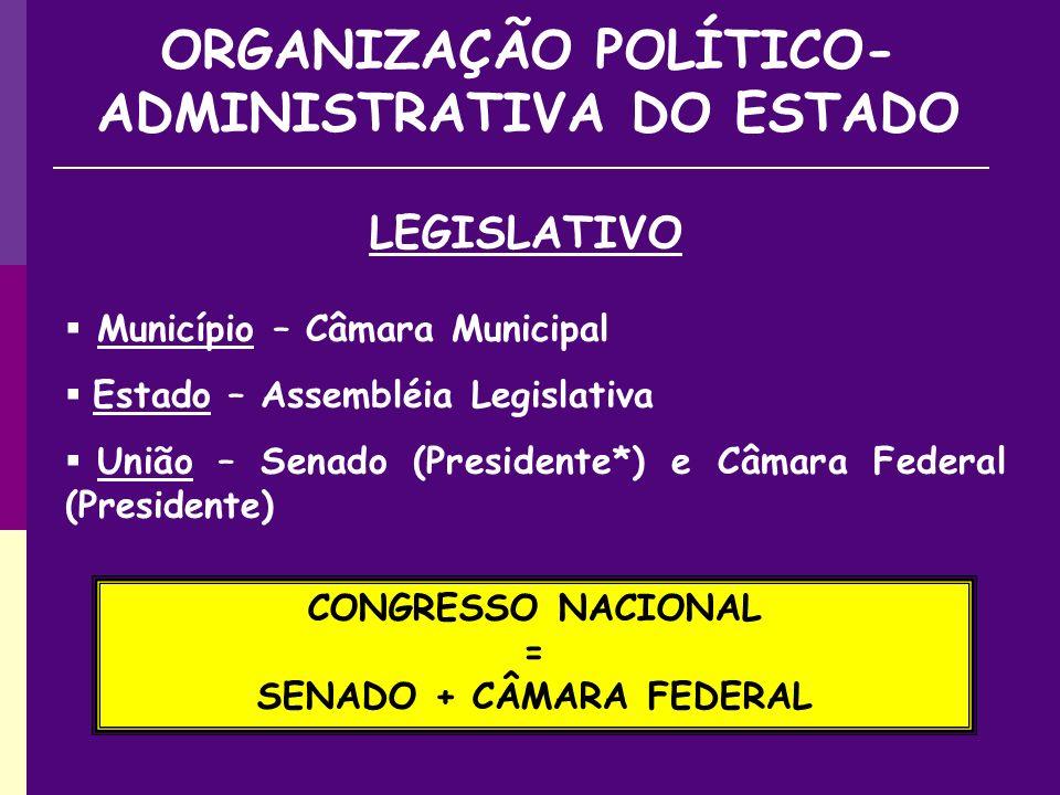 ORGANIZAÇÃO POLÍTICO-ADMINISTRATIVA DO ESTADO SENADO + CÂMARA FEDERAL