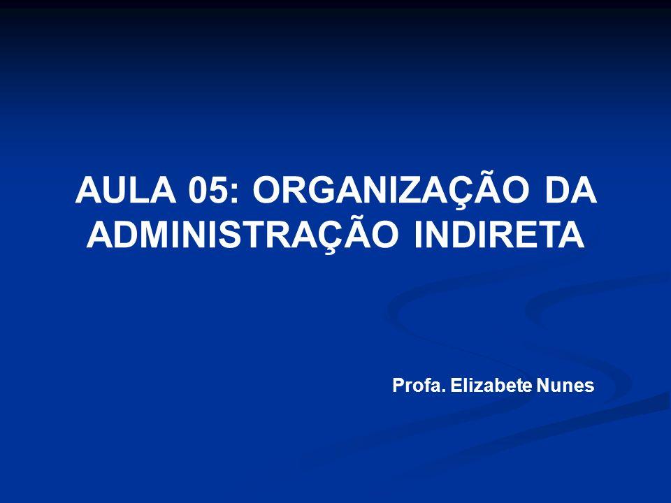 AULA 05: ORGANIZAÇÃO DA ADMINISTRAÇÃO INDIRETA