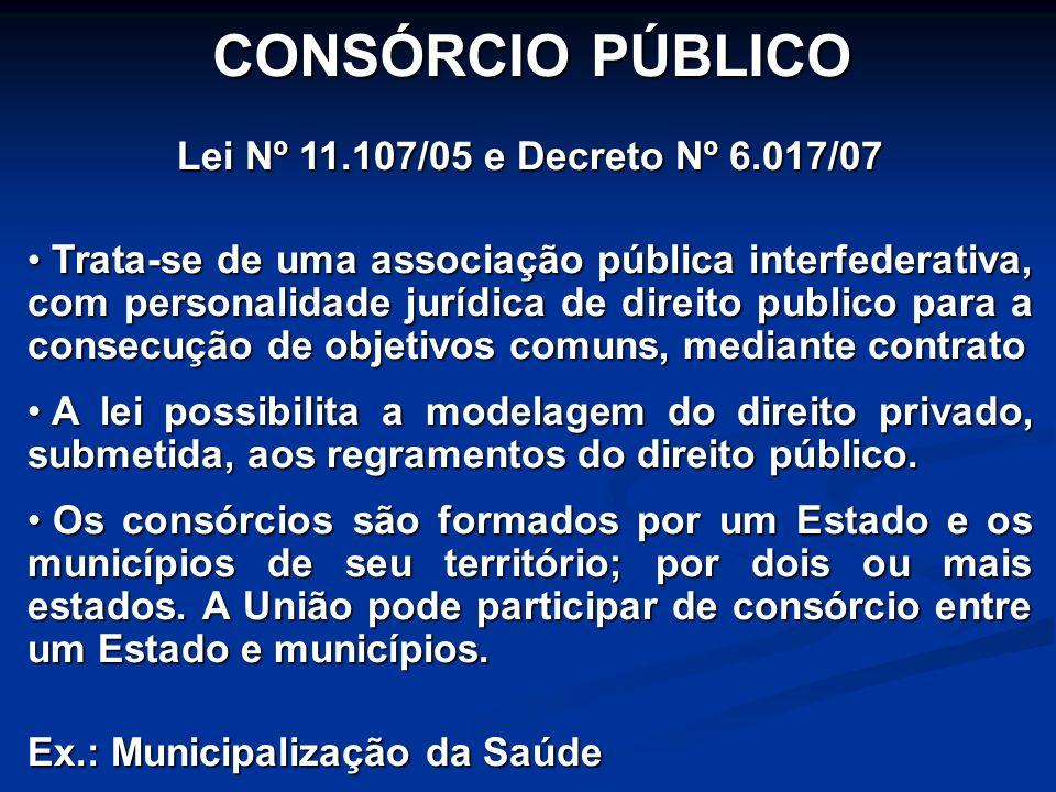 CONSÓRCIO PÚBLICO Lei Nº 11.107/05 e Decreto Nº 6.017/07