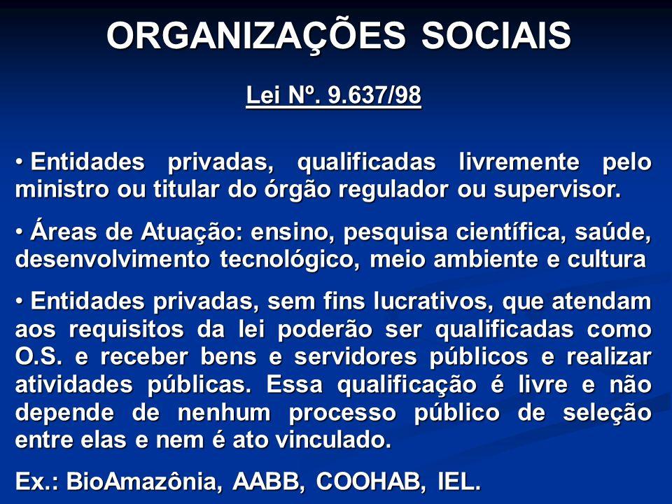 ORGANIZAÇÕES SOCIAIS Lei Nº. 9.637/98