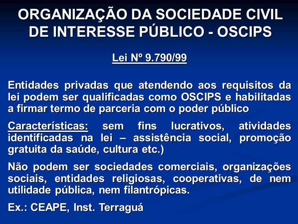 ORGANIZAÇÃO DA SOCIEDADE CIVIL DE INTERESSE PÚBLICO - OSCIPS