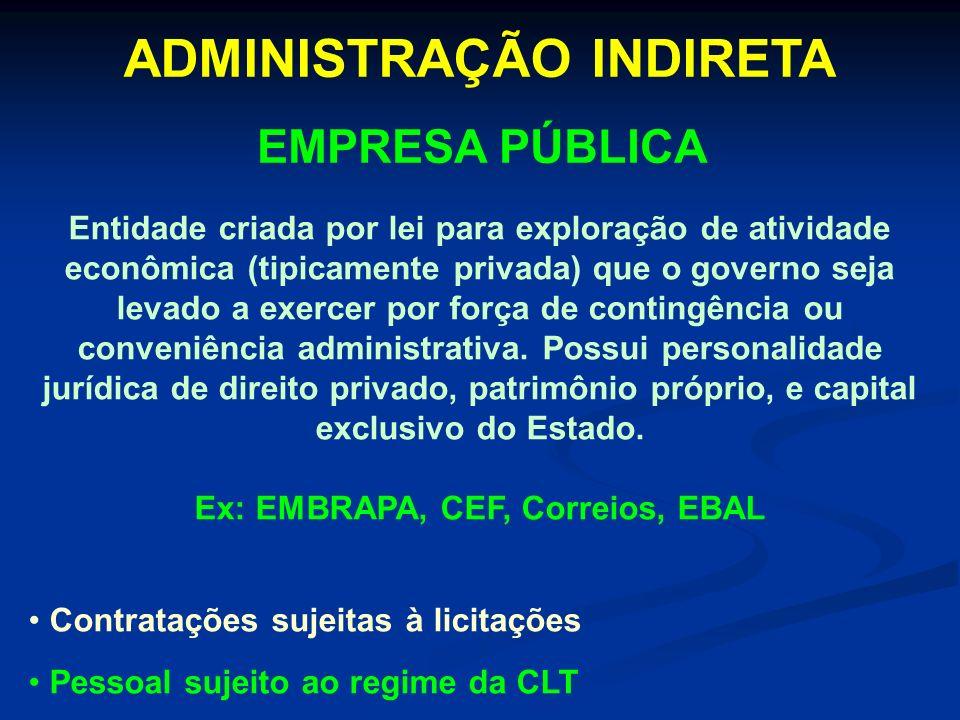ADMINISTRAÇÃO INDIRETA Ex: EMBRAPA, CEF, Correios, EBAL