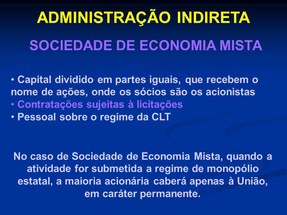 ADMINISTRAÇÃO INDIRETA SOCIEDADE DE ECONOMIA MISTA