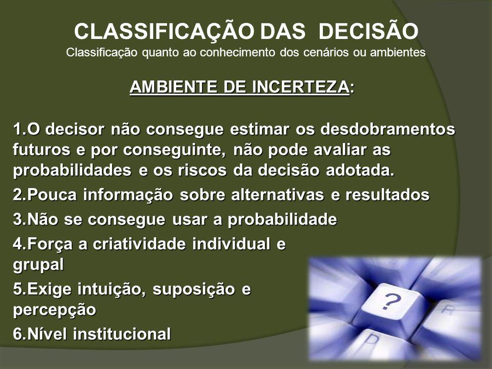 CLASSIFICAÇÃO DAS DECISÃO AMBIENTE DE INCERTEZA: