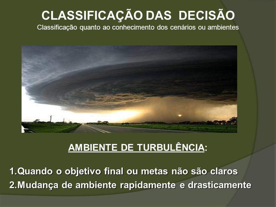 CLASSIFICAÇÃO DAS DECISÃO AMBIENTE DE TURBULÊNCIA: