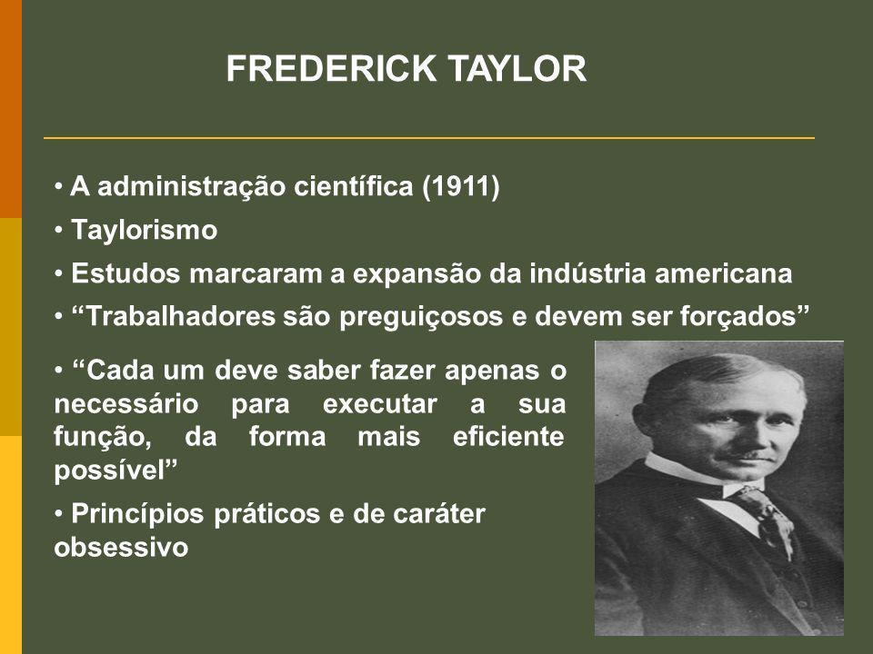 FREDERICK TAYLOR A administração científica (1911) Taylorismo