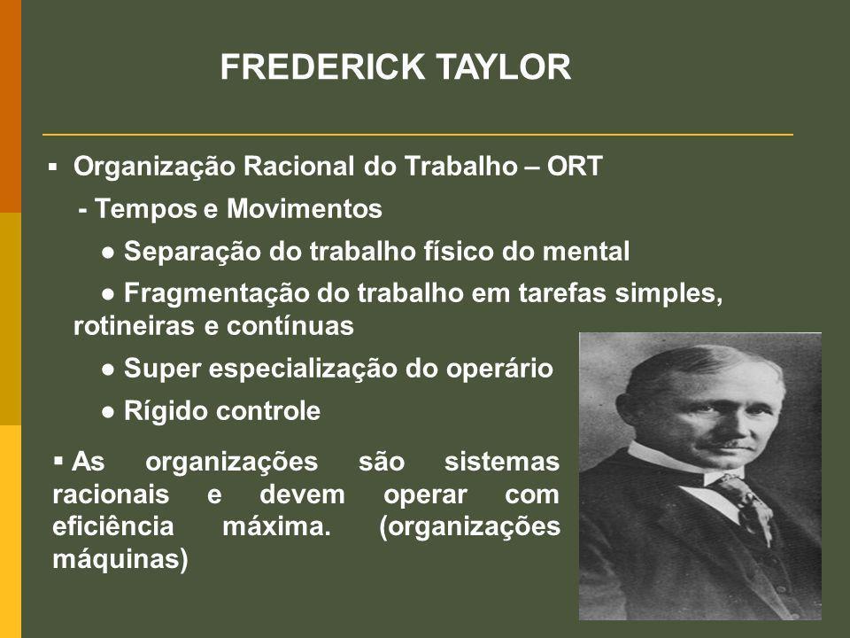 FREDERICK TAYLOR Organização Racional do Trabalho – ORT