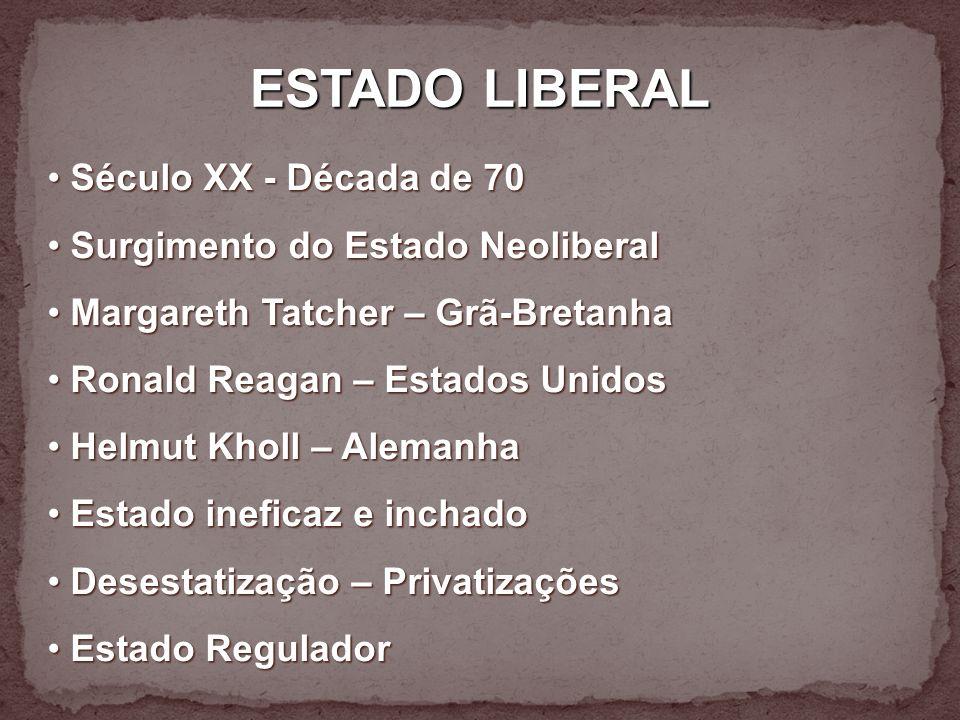 ESTADO LIBERAL Século XX - Década de 70