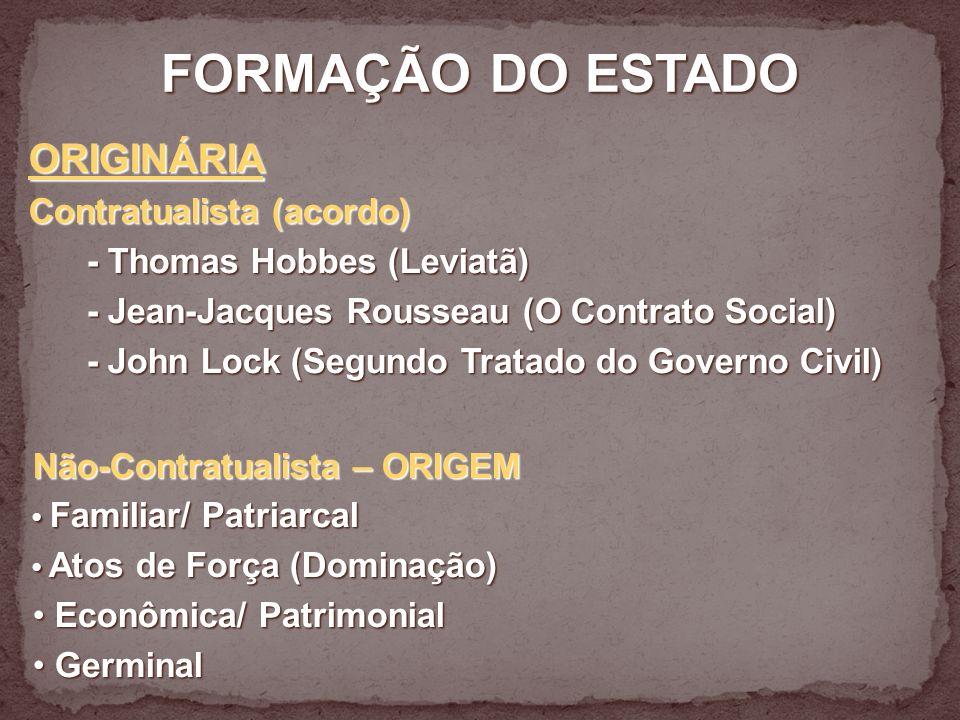 FORMAÇÃO DO ESTADO ORIGINÁRIA Contratualista (acordo)
