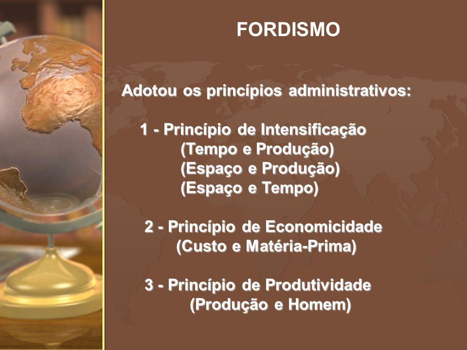 FORDISMO Adotou os princípios administrativos: