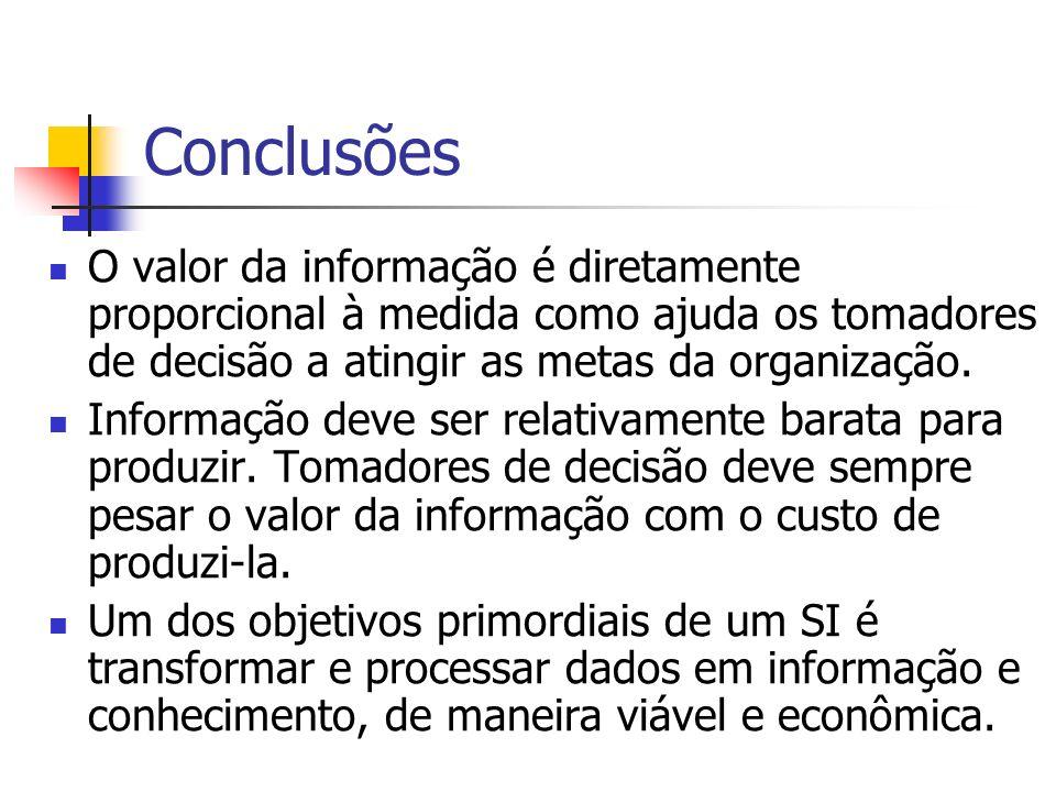 Conclusões O valor da informação é diretamente proporcional à medida como ajuda os tomadores de decisão a atingir as metas da organização.