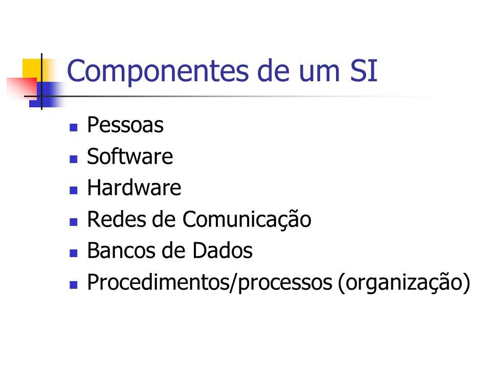 Componentes de um SI Pessoas Software Hardware Redes de Comunicação