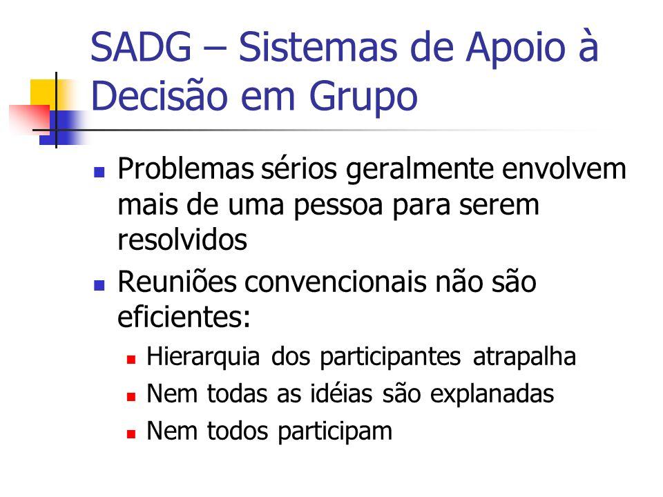 SADG – Sistemas de Apoio à Decisão em Grupo