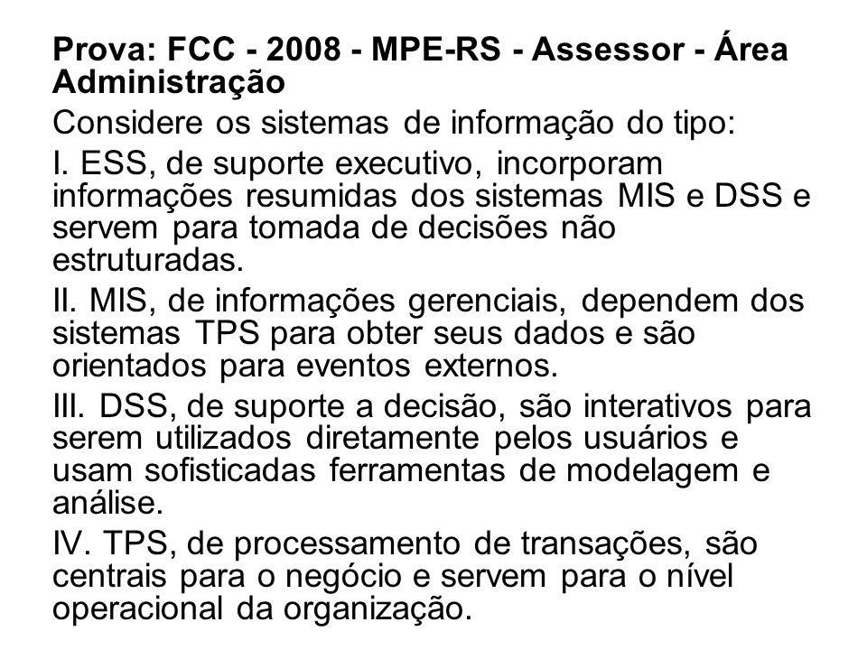 Prova: FCC - 2008 - MPE-RS - Assessor - Área Administração