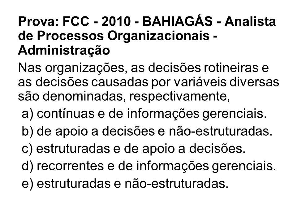 Prova: FCC - 2010 - BAHIAGÁS - Analista de Processos Organizacionais - Administração