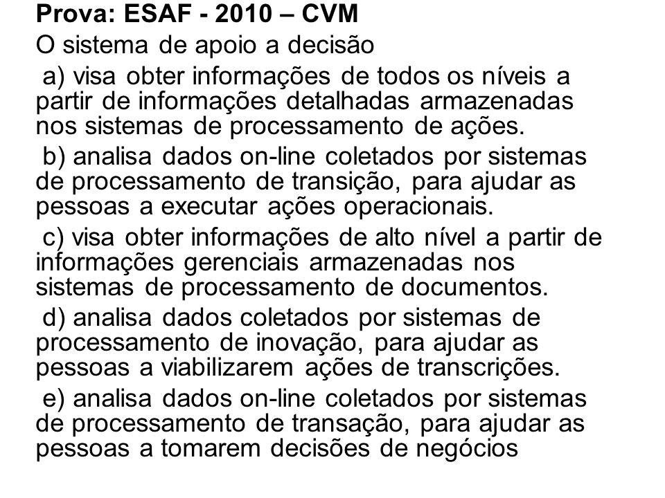 Prova: ESAF - 2010 – CVM O sistema de apoio a decisão.