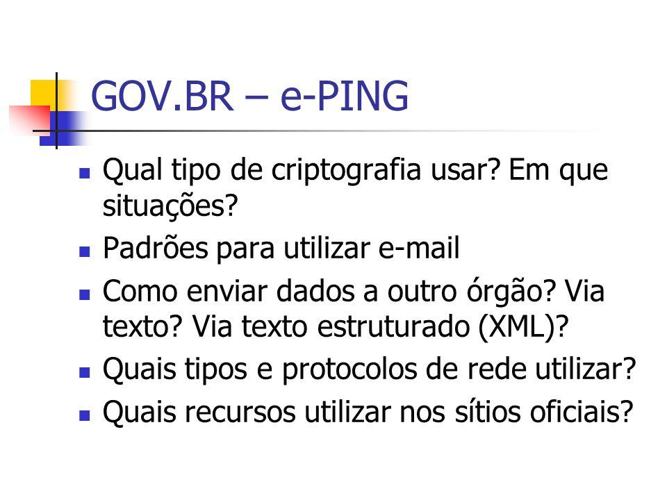 GOV.BR – e-PING Qual tipo de criptografia usar Em que situações
