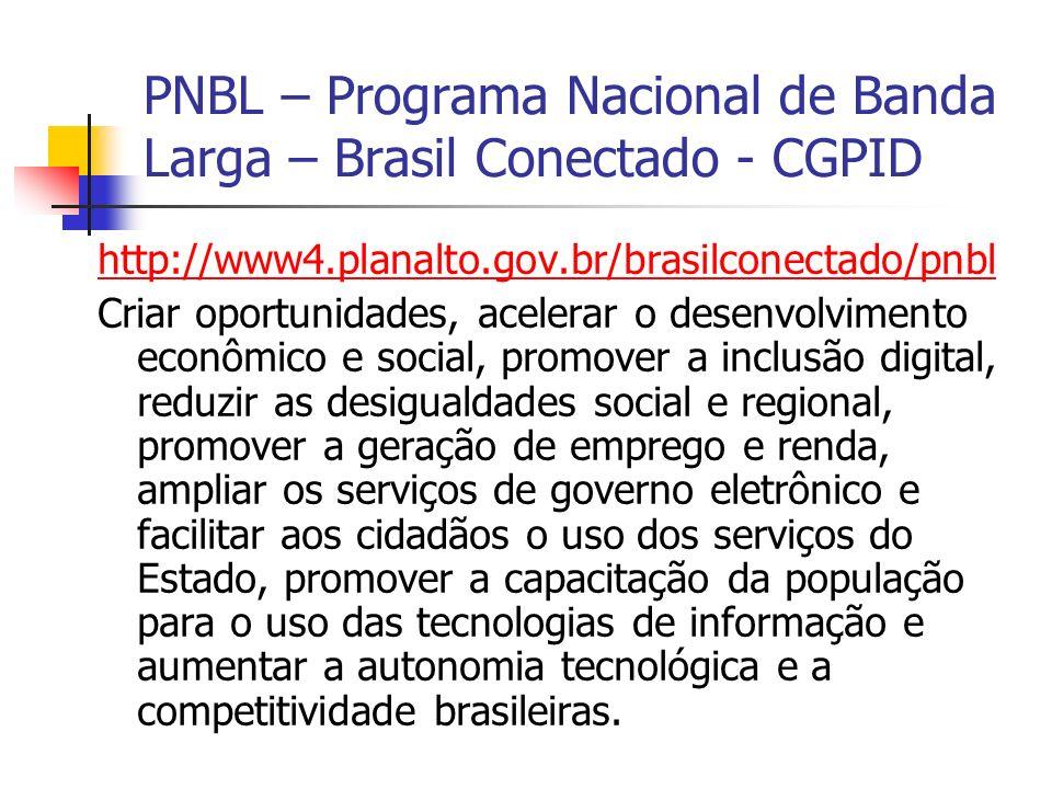 PNBL – Programa Nacional de Banda Larga – Brasil Conectado - CGPID