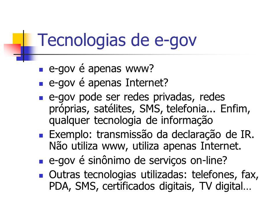 Tecnologias de e-gov e-gov é apenas www e-gov é apenas Internet
